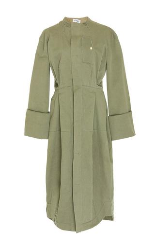 Medium loewe green collarless long coat