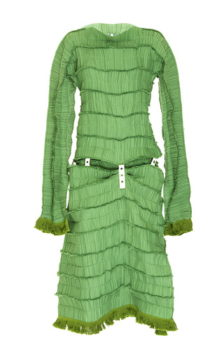 Medium loewe green micro pleated long sleeve dress