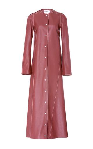 Medium loewe brown collarless leather coat