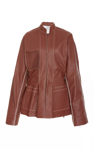Medium loewe brown leather mock neck jacket