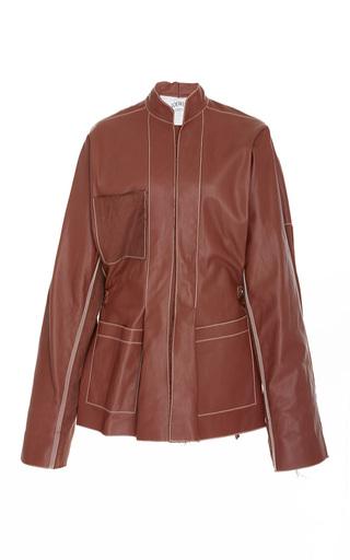 Medium loewe brown leather mock neck jacket