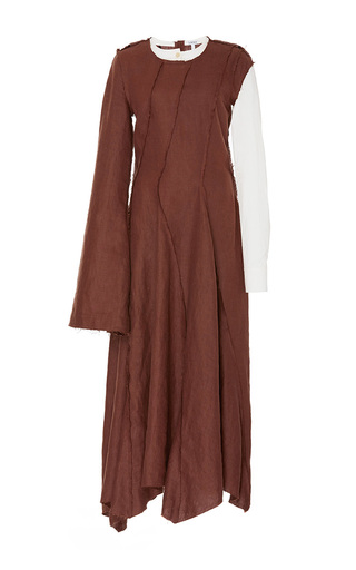 Medium loewe brown contrast sleeve dress