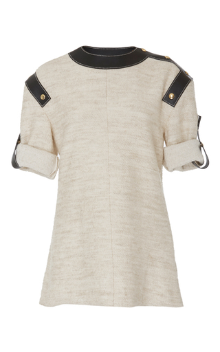 Medium loewe ivory leather inserts top