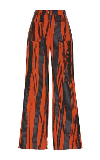 Medium loewe orange leather side bands pant
