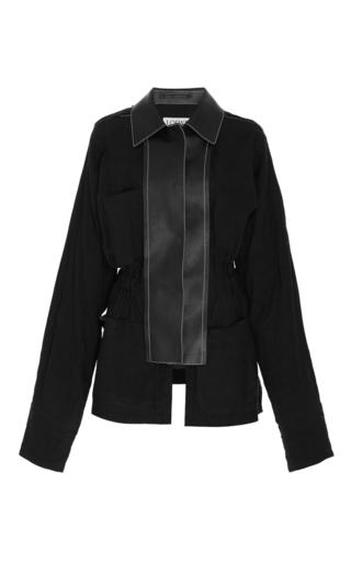 Medium loewe black leather trimmed jacket