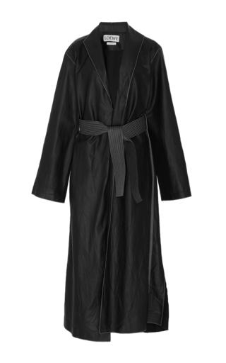 Medium loewe black long belted leather coat