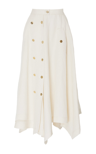 Medium loewe white multi buttons a line skirt