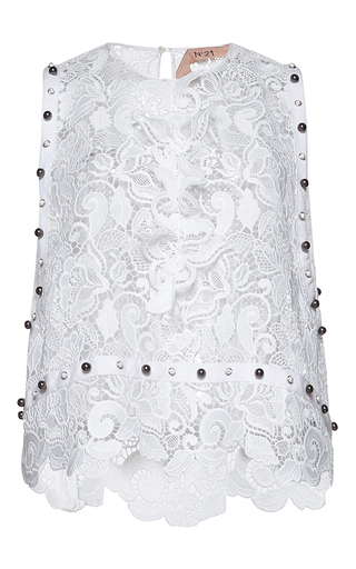 Medium no 21 white assunta sleeveless lace top