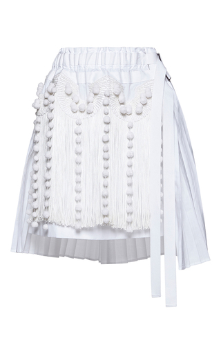 Medium no 21 white helena pleated fringe mini skirt