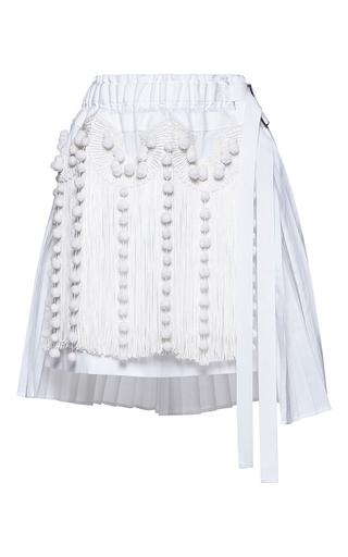 Medium no 21 white helena pleated fringe mini skirt