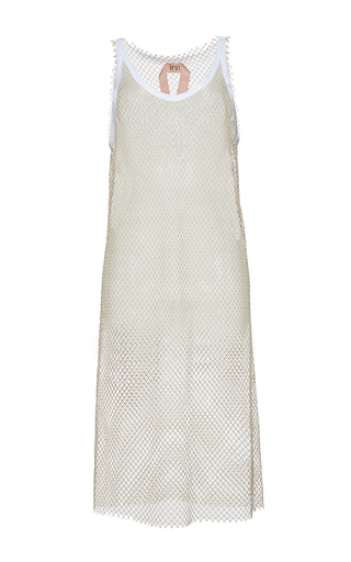 Medium no 21 white amanda netted midi length dress