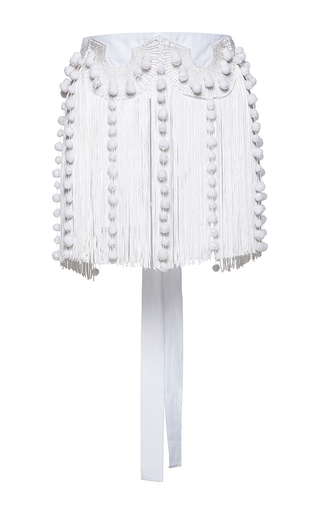Medium no 21 white cintura fringe belt