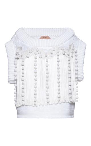 Medium no 21 white casta fringed round neck knit top