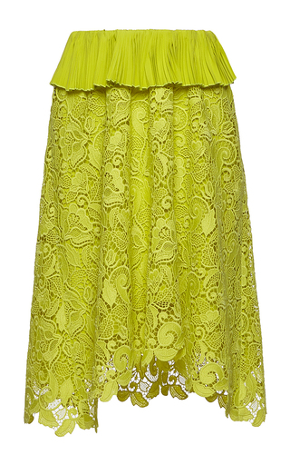 Medium no 21 yellow alejandra knee length lace skirt
