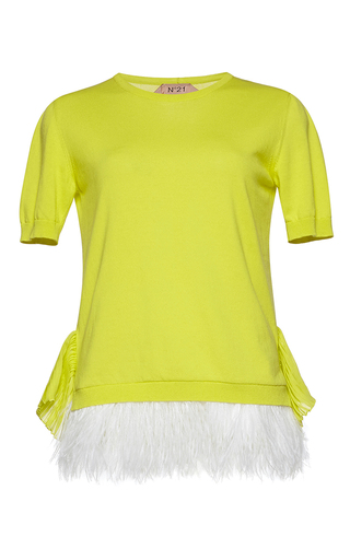 Medium no 21 yellow ema round neck knit top
