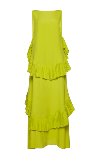 Medium no 21 yellow amor sleeveless crepe de chine maxi dress