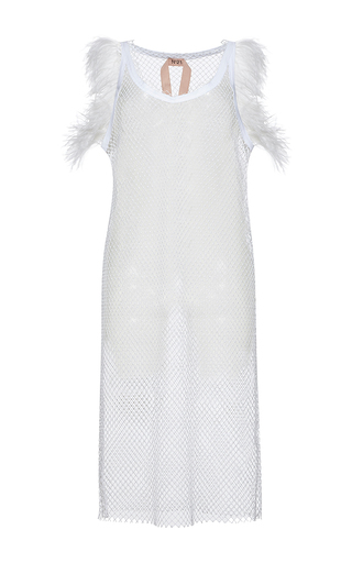 Medium no 21 white amanda netted midi length feather detail dress