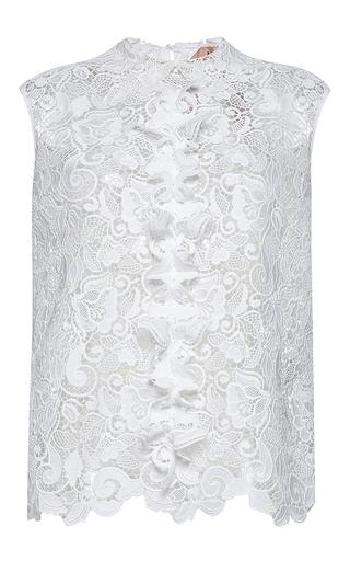 Medium no 21 white sleeveless lace shirt