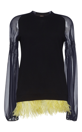Medium no 21 black claudia long sleeve feather trim top