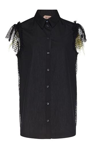 Medium no 21 black evita netted sleeve shirt