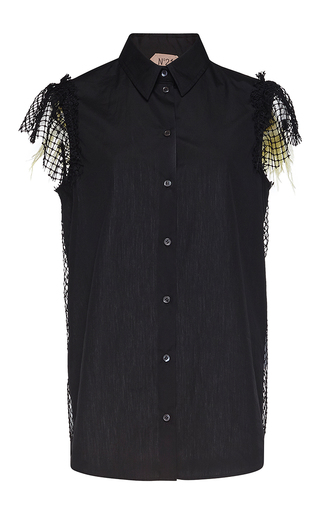 Medium no 21 black evita netted sleeve shirt