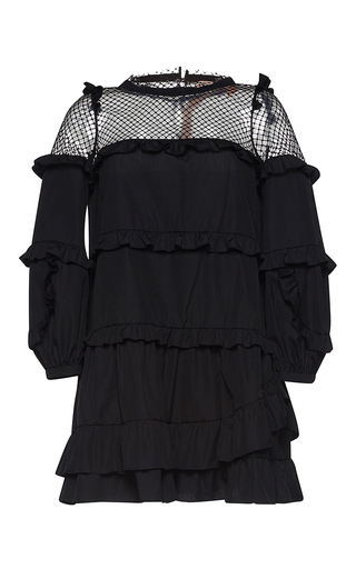 Medium no 21 black albertine balloon sleeve ruffled mini dress