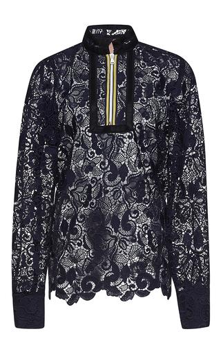 Medium no 21 navy daria long sleeve lace blouse