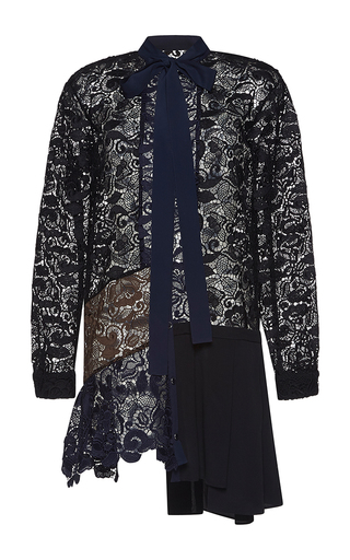 Medium no 21 multi amalia long sleeve lace shirt dress