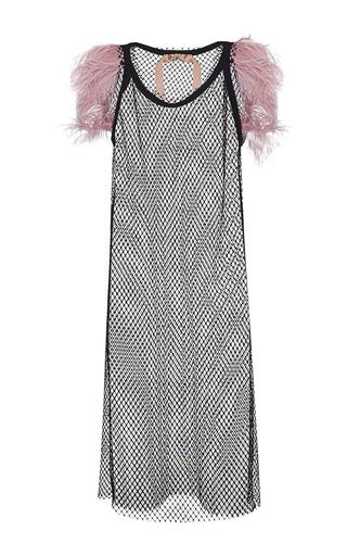 Medium no 21 black amanda netted feather collar dress