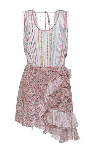 Medium no 21 multi agua sleeveless floral print ruffle dress