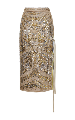 Medium no 21 gold gala embellished pencil skirt