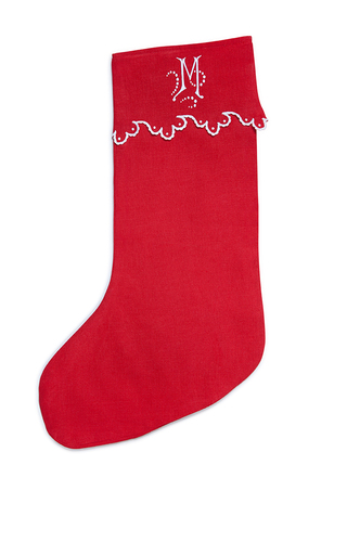 Medium julia b couture linens red m onogrammed standard christmas stocking