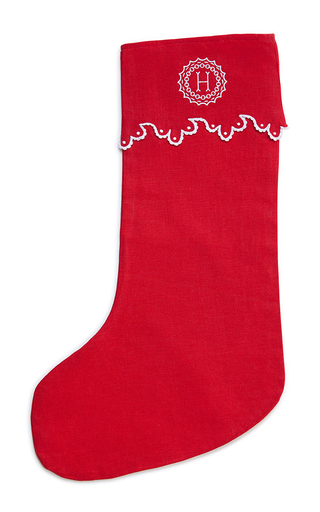 Medium julia b couture linens red m onogrammed large christmas stocking