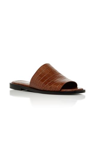 Medium ellery tan funplex croc embossed slides