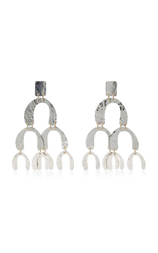 Medium proenza schouler silver hammered metal clip earrings 2