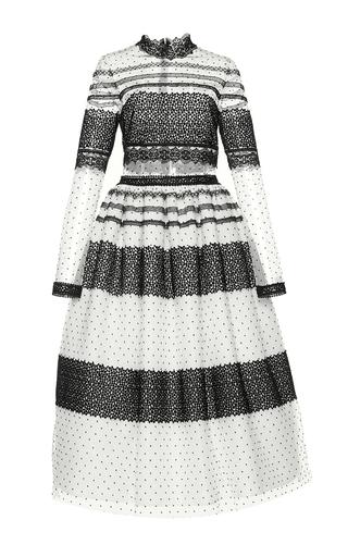 Medium costarellos white illusion dot tulle midi ball dress