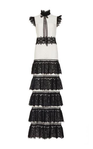 Medium costarellos white ruffle tie neck lace long dress