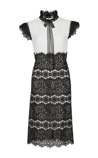 Medium costarellos black ruffle tie neck lace midi dress