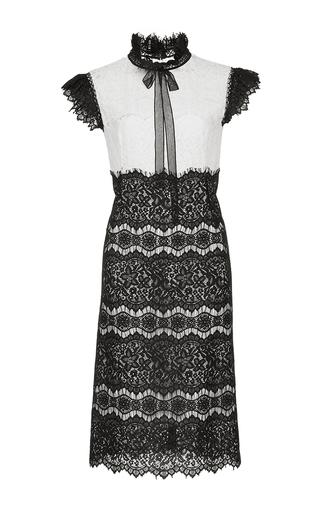 Medium costarellos black ruffle tie neck lace midi dress