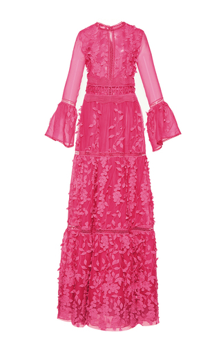 Medium costarellos pink floral applique long a line dress