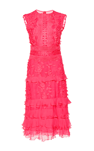 Medium costarellos pink leaf applique ruffled sheath dress