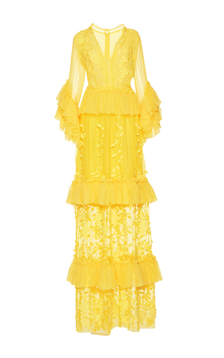 Medium costarellos yellow ruffle sleeve v neck silk chiffon long dress