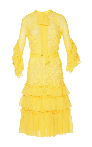 Medium costarellos yellow lace and silk chiffon midi dress