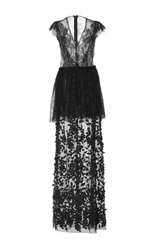 Medium costarellos black chantilly lace and tulle long dress