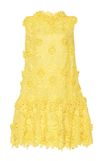 Medium costarellos yellow blossom lace shift dress
