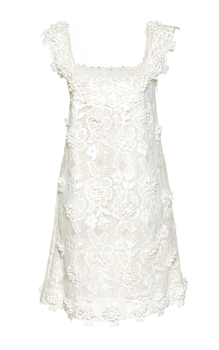 Medium costarellos white mini blossom lace shift dress