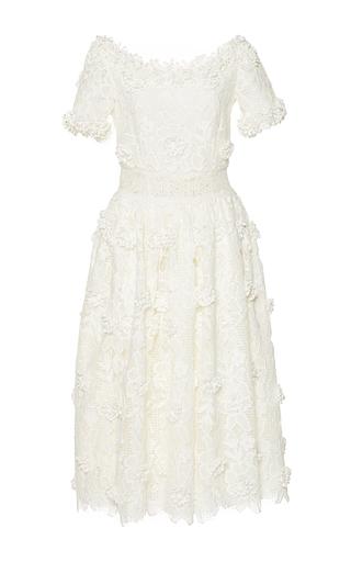 Medium costarellos white blossom lace portrait neckline dress