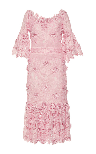 Medium costarellos pink ruffled blossom lace midi dress