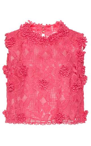 Medium costarellos pink bloom lace sleeveless top