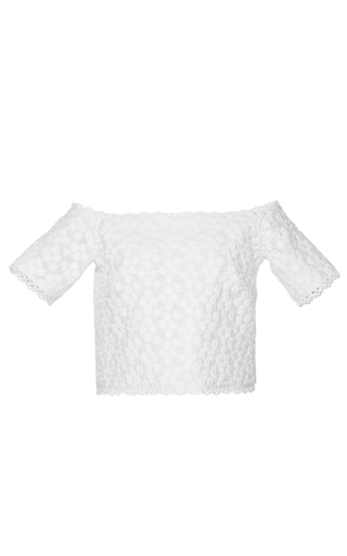 Medium costarellos white off the shoulder chantilly lace top